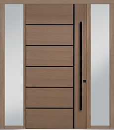 Custom Pivot Front  Door Example, Oak Wood Veneer-Light-Loft DB-PVT-B1 2SL18 48x96