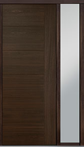 Custom Pivot Front  Door Example, Mahogany Wood Veneer-Walnut DB-PVT-B2 1SL18 42x108