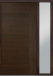 Custom Pivot Front  Door Example, Mahogany Wood Veneer-Walnut DB-PVT-B2 1SL18 48x96