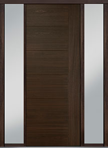 Custom Pivot Front  Door Example, Mahogany Wood Veneer-Walnut DB-PVT-B2 2SL18 42x108