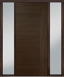 Custom Pivot Front  Door Example, Mahogany Wood Veneer-Walnut DB-PVT-B2 2SL18 42x96