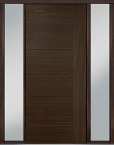 Custom Pivot Front  Door Example, Mahogany Wood Veneer-Walnut DB-PVT-B2 2SL18 48x108