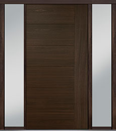 Custom Pivot Front  Door Example, Mahogany-Wood-Veneer-Walnut DB-PVT-B2 2SL18 48x96