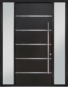 Custom Pivot Front  Door Example, Mahogany-Wood-Veneer-Espresso DB-PVT-B3 2SL18 48x108