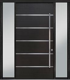 Custom Pivot Front  Door Example, Mahogany Wood Veneer-Espresso DB-PVT-B3 2SL18 48x96