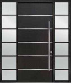 Custom Pivot Front  Door Example, Mahogany-Wood-Veneer-Espresso DB-PVT-B3 2SL24B 48x108