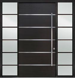 Custom Pivot Front  Door Example, Mahogany Wood Veneer-Espresso DB-PVT-B3 2SL24B 48x96
