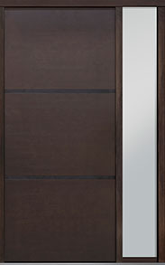 Custom Pivot Front  Door Example, Mahogany Wood Veneer-Walnut DB-PVT-B4 1SL18 48x108