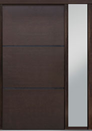 Custom Pivot Front  Door Example, Mahogany Wood Veneer-Walnut DB-PVT-B4 1SL18 48x96