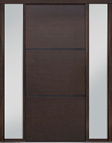 Custom Pivot Front  Door Example, Mahogany Wood Veneer-Walnut DB-PVT-B4 2SL18 48x108