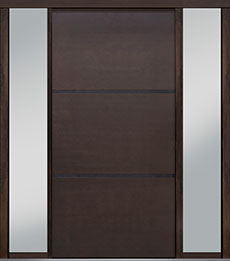 Custom Pivot Front  Door Example, Mahogany Wood Veneer-Walnut DB-PVT-B4 2SL18 48x96