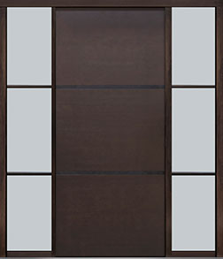 Custom Pivot Front  Door Example, Mahogany Wood Veneer-Walnut DB-PVT-B4 2SL24B 48x108