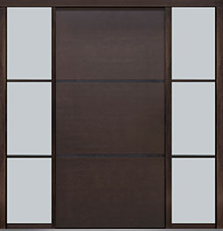 Custom Pivot Front  Door Example, Mahogany Wood Veneer-Walnut DB-PVT-B4 2SL24B 48x96