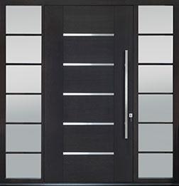 Custom Pivot Front  Door Example, Mahogany-Wood-Veneer-Espresso DB-PVT-B5 2SL24B 48x96