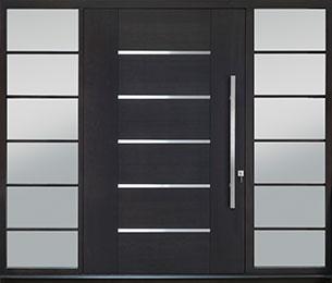 Custom Pivot Front  Door Example, Mahogany-Wood-Veneer-Espresso DB-PVT-B5 2SL30B 54x96 CST