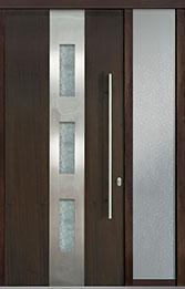 Custom Pivot Front  Door Example, Mahogany Wood Veneer-Walnut DB-PVT-C2 1SL18 42x96