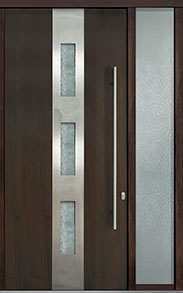 Custom Pivot Front  Door Example, Mahogany Wood Veneer-Walnut DB-PVT-C2 1SL18 48x108