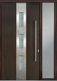 Custom Pivot Front  Door Example, Mahogany Wood Veneer-Walnut DB-PVT-C2 1SL18 48x96