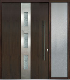 Custom Pivot Front  Door Example, Mahogany-Wood-Veneer-Walnut DB-PVT-C2 1SL24 60x96