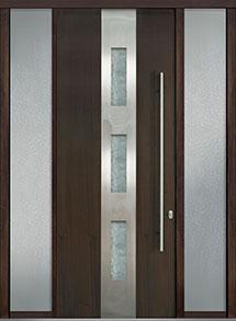 Custom Pivot Front  Door Example, Mahogany Wood Veneer-Walnut DB-PVT-C2 2SL18 42x108