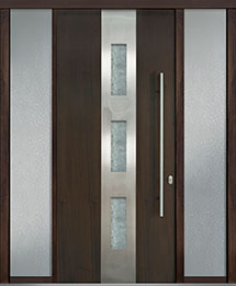 Custom Pivot Front  Door Example, Mahogany Wood Veneer-Walnut DB-PVT-C2 2SL18 42x96