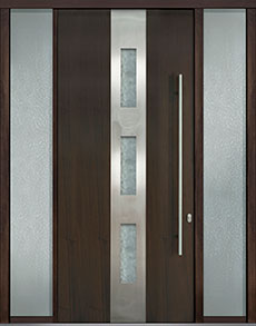 Custom Pivot Front  Door Example, Mahogany Wood Veneer-Walnut DB-PVT-C2 2SL18 48x108