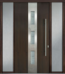 Custom Pivot Front  Door Example, Mahogany Wood Veneer-Walnut DB-PVT-C2 2SL18 48x96