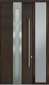 Custom Pivot Front  Door Example, Mahogany Wood Veneer-Walnut DB-PVT-D4 1SL18 42x108
