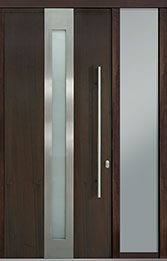 Custom Pivot Front  Door Example, Mahogany Wood Veneer-Walnut DB-PVT-D4 1SL18 42x96
