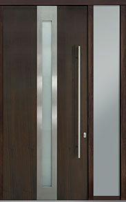 Custom Pivot Front  Door Example, Mahogany Wood Veneer-Walnut DB-PVT-D4 1SL18 48x108