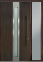 Custom Pivot Front  Door Example, Mahogany Wood Veneer-Walnut DB-PVT-D4 1SL18 48x96