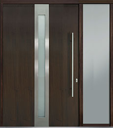Custom Pivot Front  Door Example, Mahogany Wood Veneer-Walnut DB-PVT-D4 1SL24 60x96