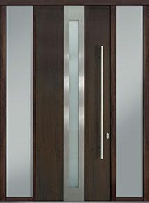Custom Pivot Front  Door Example, Mahogany Wood Veneer-Walnut DB-PVT-D4 2SL18 42x108