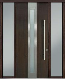 Custom Pivot Front  Door Example, Mahogany Wood Veneer-Walnut DB-PVT-D4 2SL18 42x96