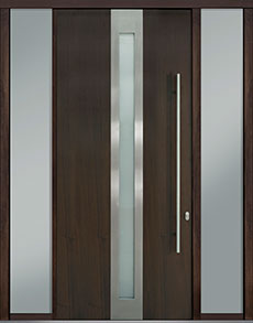Custom Pivot Front  Door Example, Mahogany Wood Veneer-Walnut DB-PVT-D4 2SL18 48x108