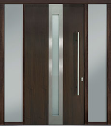 Custom Pivot Front  Door Example, Mahogany Wood Veneer-Walnut DB-PVT-D4 2SL18 48x96