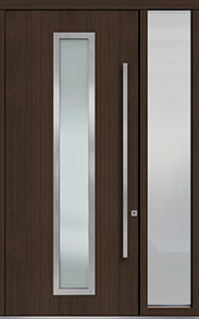 Custom Pivot Front  Door Example, Mahogany Wood Veneer-Walnut DB-PVT-E4 1SL18 48x108