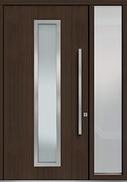 Custom Pivot Front  Door Example, Mahogany Wood Veneer-Walnut DB-PVT-E4 1SL18 48x96