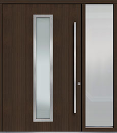 Custom Pivot Front  Door Example, Mahogany Wood Veneer-Walnut DB-PVT-E4 1SL24  60x96
