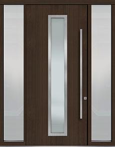 Custom Pivot Front  Door Example, Mahogany Wood Veneer-Walnut DB-PVT-E4 2SL18 48x108