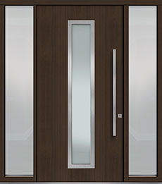 Custom Pivot Front  Door Example, Mahogany Wood Veneer-Walnut DB-PVT-E4 2SL18 48x96