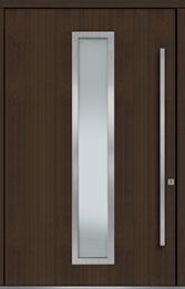 Custom Pivot Front  Door Example, Mahogany Wood Veneer-Walnut DB-PVT-E4 60x96