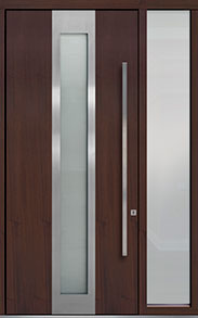 Custom Pivot Front  Door Example, Mahogany-Wood-Veneer-Mahogany Dark DB-PVT-F4 1SL18 48x108