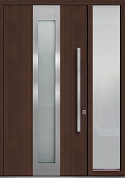 Custom Pivot Front  Door Example, Mahogany-Wood-Veneer-Mahogany Dark DB-PVT-F4 1SL18 48x96
