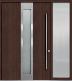 Custom Pivot Front  Door Example, Mahogany-Wood-Veneer-Mahogany Dark DB-PVT-F4 1SL24  60x96