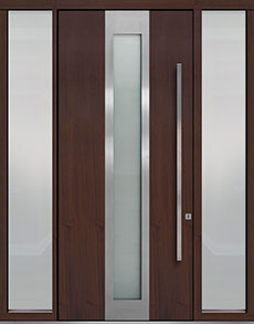 Custom Pivot Front  Door Example, Mahogany Wood Veneer-Mahogany Dark DB-PVT-F4 2SL18 48x108