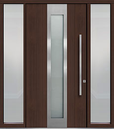 Custom Pivot Front  Door Example, Mahogany-Wood-Veneer-Mahogany Dark DB-PVT-F4 2SL18 48x96