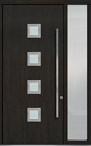 Custom Pivot Front  Door Example, Mahogany Wood Veneer-Espresso DB-PVT-H4 1SL18 48x108