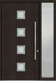 Custom Pivot Front  Door Example, Mahogany Wood Veneer-Espresso DB-PVT-H4 1SL18 48x96