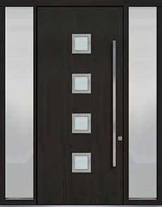 Custom Pivot Front  Door Example, Mahogany Wood Veneer-Espresso DB-PVT-H4 2SL18 48x108